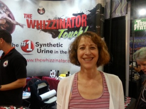 Rx MaryJane at the Wizzinator booth at the 2014 BIG Industry Show befoe the High Times Cannabis Cup.